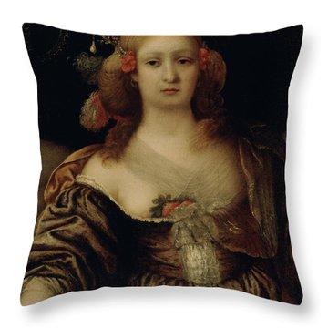 Portrait Of A Young Woman  Throw Pillow by Girolamo Forabosco