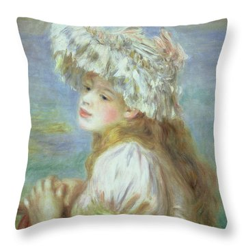 Portrait Of A Young Woman In A Lace Hat Throw Pillow by Pierre Auguste  Renoir