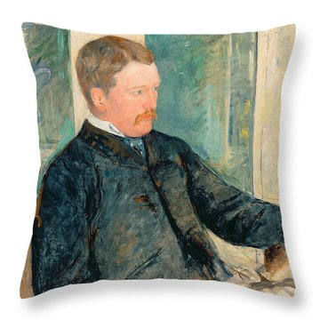Portrait Of Alexander J. Cassatt Throw Pillow by Mary Stevenson Cassatt