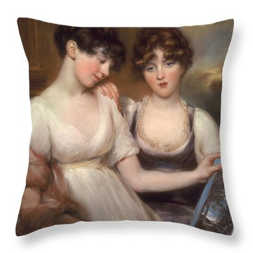 Portrait Of Anne And Maria Russell Throw Pillow by John Russell