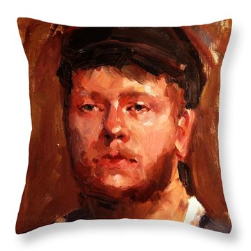 Portrait Of Irish Fisherman With Weary Sad Eyes And Hard Work Face Deep Lines And Lost Souls Cap Throw Pillow