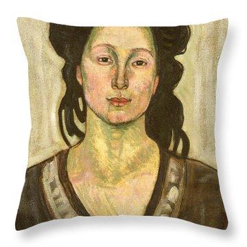 Portrait Of Jeanne Cerani Throw Pillow by  Ferdinand Hodler