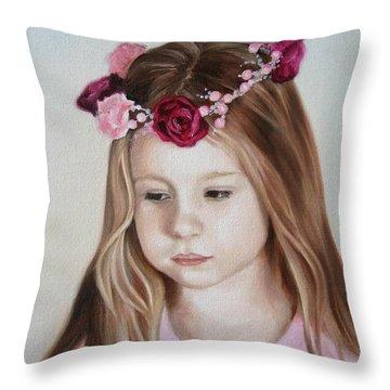 Portrait Of Kristinka Throw Pillow by Jindra Noewi
