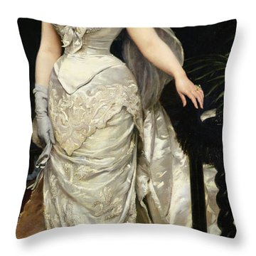 Portrait Of Mademoiselle X Throw Pillow by Charles Emile Auguste Carolus Duran