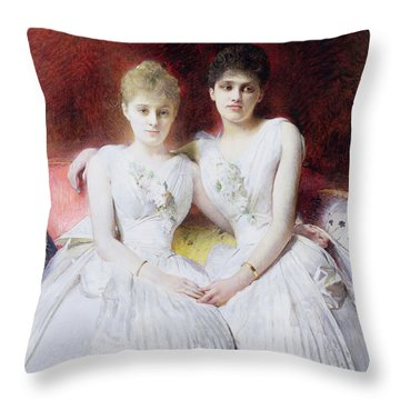 Portrait Of Marthe And Terese Galoppe Throw Pillow by Leon Joseph Bonnat
