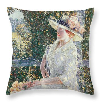 Portrait Of Miss Weir Throw Pillow by Childe Hassam