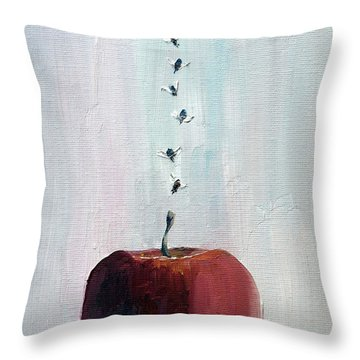 Portrait Of Seven Flies Flying Over An Apple Throw Pillow by Fabrizio Cassetta