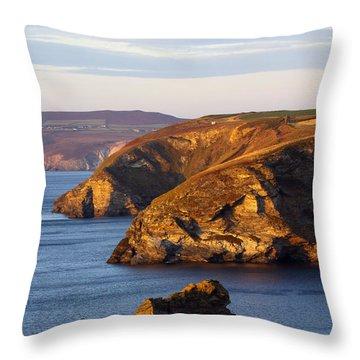 Portreath North Cliffs Throw Pillow by Ken Brannen