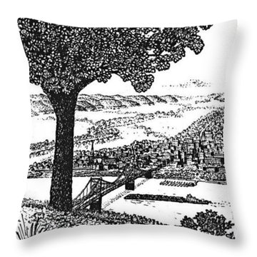 Portsmouth Ohio From A Kentucky Hill Throw Pillow