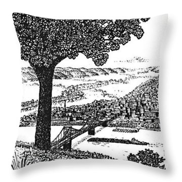 Portsmouth Ohio From A Kentucky Hill Throw Pillow by Frank Hunter