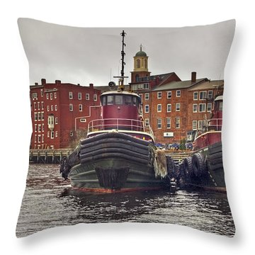 Portsmouth Tugs Throw Pillow by Joann Vitali