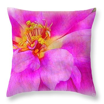 Portulaca With Texture Throw Pillow by Judi Bagwell