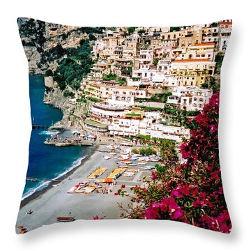 Positano Italy Beach Throw Pillow