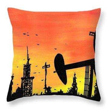 Post Apocalyptic Oil Skyline Throw Pillow by Jera Sky
