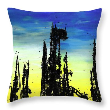 Post Apocalyptic Skyline 2 Throw Pillow by Jera Sky