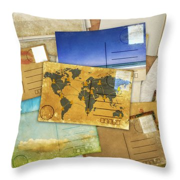 Postcard And Old Papers Throw Pillow by Setsiri Silapasuwanchai