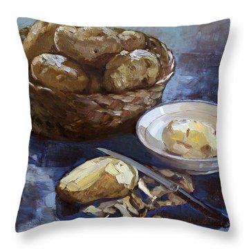 Potatoes Throw Pillow by Ylli Haruni