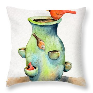 Pottery Vase And Birds Throw Pillow by Arline Wagner
