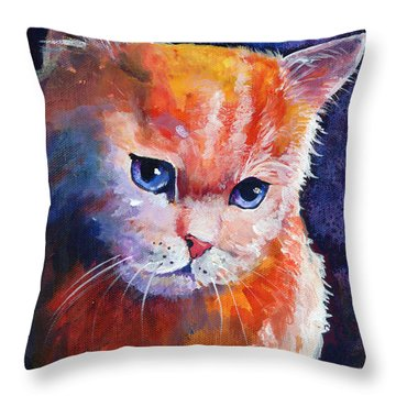 Pouting Kitty Throw Pillow by Sherry Shipley