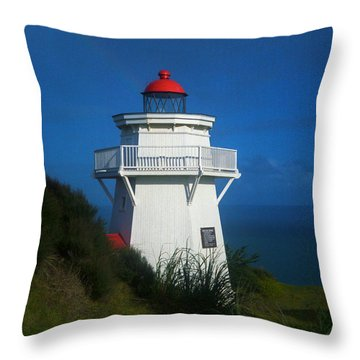 Throw Pillow featuring the photograph Pouto Lighthouse With Rainbow New Zealand by Mark Dodd