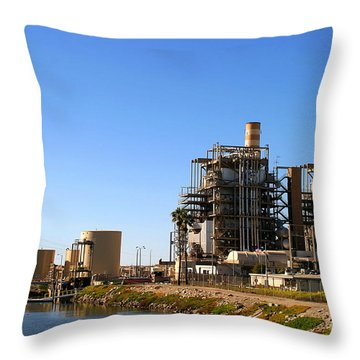 Power Plant Throw Pillow by Henrik Lehnerer
