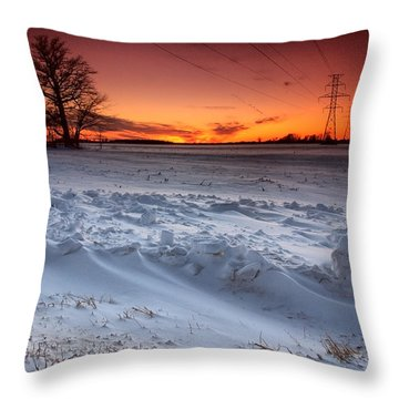 Powerlines In Winter Throw Pillow by Cale Best