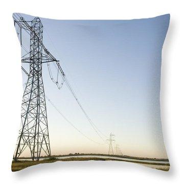 Powerlines Jepson Prairie Preserve Throw Pillow by Sebastian Kennerknecht