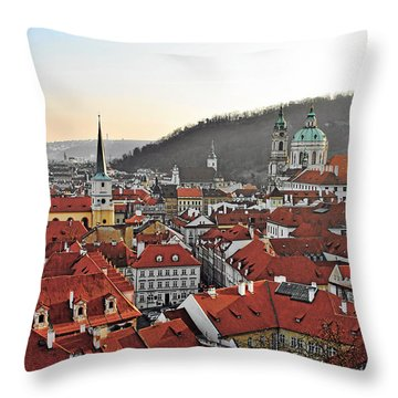 Prague - A Story Told By Rooftops Throw Pillow by Christine Till