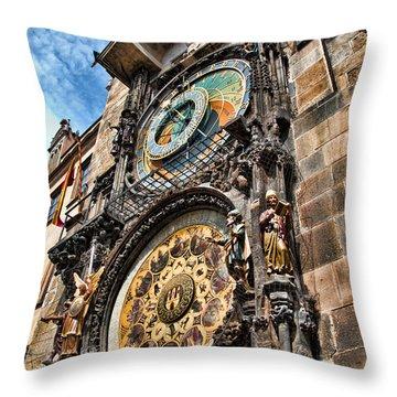 Prague Astronomical Clock Throw Pillow by Jon Berghoff