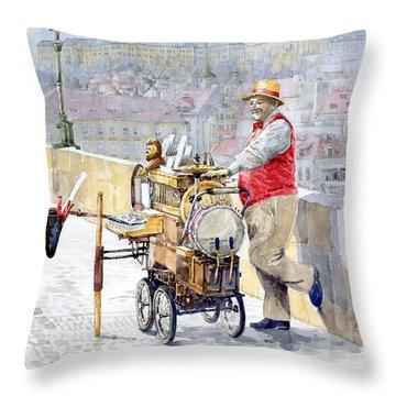 Prague Charles Bridge Organ Grinder-seller Happiness  Throw Pillow by Yuriy  Shevchuk
