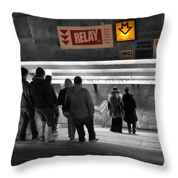 Prague Underground Station Stairs Throw Pillow by Stelios Kleanthous