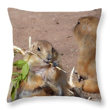 Prairie Dogs Throw Pillow by Methune Hively