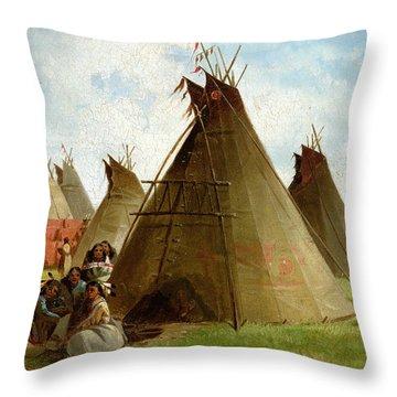 Prairie Indian Encampment Throw Pillow