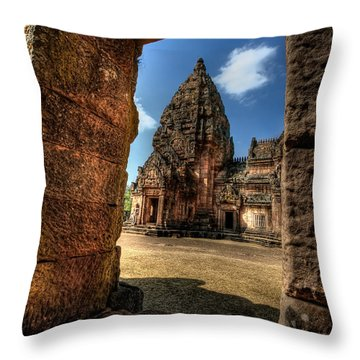 Prasat Phnom Rung Throw Pillow by Adrian Evans