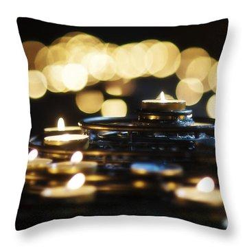 Prayer Candles Throw Pillow by Beth Riser