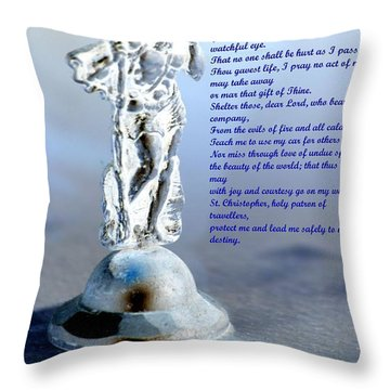 Prayer To St Christopher Throw Pillow by Maria Urso