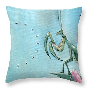 Praying Mantis And Flies In Circle Throw Pillow by Fabrizio Cassetta