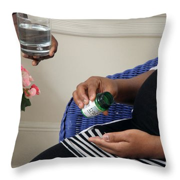 Pregnant Woman Taking Folic Acid Throw Pillow by Photo Researchers