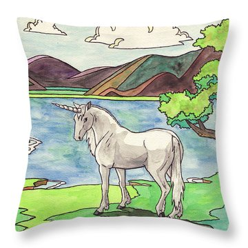 Prehistoric Unicorn Throw Pillow by Crista Forest