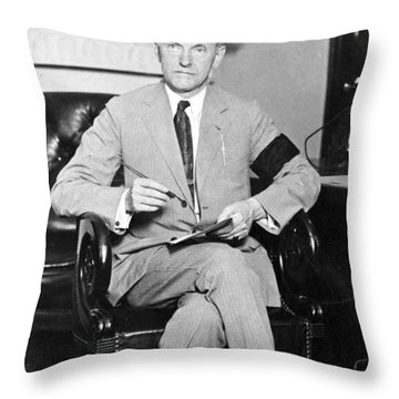 President Calvin Coolidge Throw Pillow