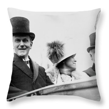 President Calvin Coolidge With His Wife And Senator Curtis On The Way To Capitol - C 1925 Throw Pillow