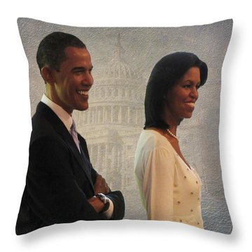 President Obama And First Lady Throw Pillow by David Dehner