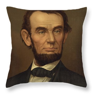 Throw Pillow featuring the photograph President Of The United States Of America - Abraham Lincoln  by International  Images