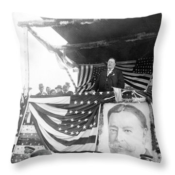 President Taft Giving A Speech In Augusta - Georgia C 1910 Throw Pillow by International  Images