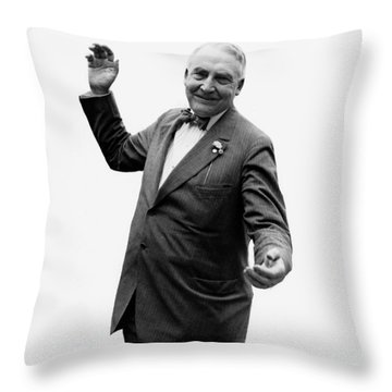 Throw Pillow featuring the photograph President Warren G Harding - C 1920 by International  Images
