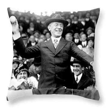 President Woodrow Wilson Throws Throws The First Pitch On Opening Day - C 1916 Throw Pillow by International  Images