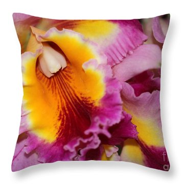 Pretty And Colorful Orchids Throw Pillow by Sabrina L Ryan