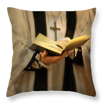 Priest With Open Bible Throw Pillow by Jill Battaglia