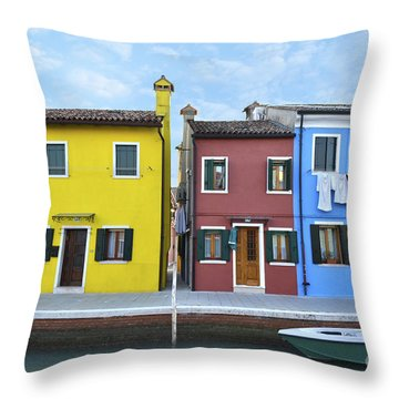 Throw Pillow featuring the photograph Primary Colors In Burano Italy by Rebecca Margraf