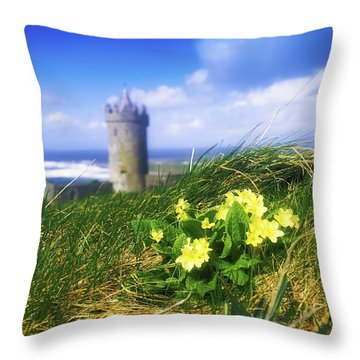 Primrose Flower In Foreground Throw Pillow by The Irish Image Collection